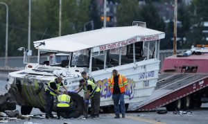 Scene of September 24, 2015, crash in Seattle, Washington, involving duck boat and a tour bus.